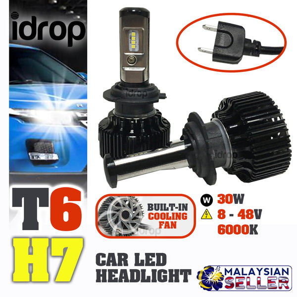 idrop  TURBO LED T6 [ H7 ) ]- Car Headlight Hi Lo Beam 30W EMC 8-48V 6000K