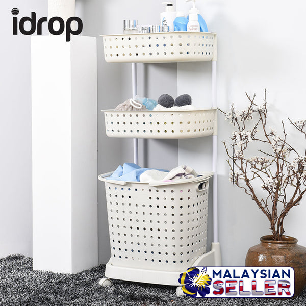 idrop 3 Layer Laundry & Toiletry Rack Shelf - Movable Rack Shelf with Basket & Wheels