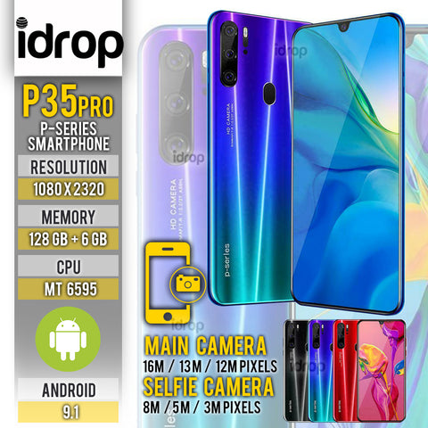idrop [ P35 Pro ] P-SERIES - 3 Lens Camera / 6.3 inch Screen / 10 Core / 6G + 128G / Android 9.1 Smartphone