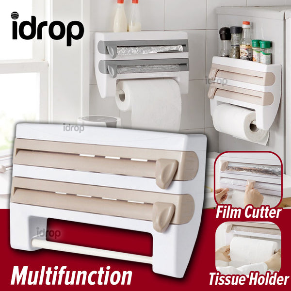 idrop Multifunction Wall Mounted Tissue Holder and Cling Film Aluminium Foil & Clear Plastic Wrap Cutter