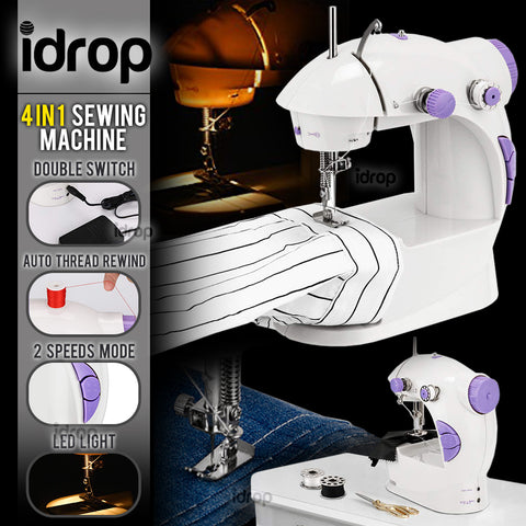 idrop  4 IN 1 Portable Mini Dual Speed Automatic Thread rewind Sewing Machine with LED Light
