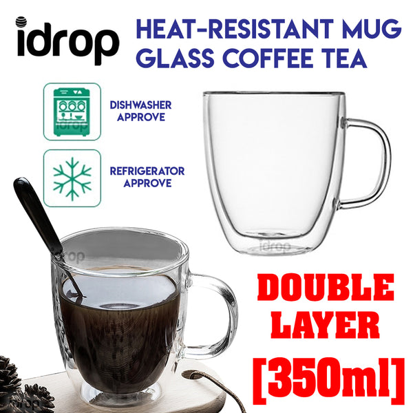idrop 350ml Double Layer Heat-Resistant Mug Glass Coffee Tea