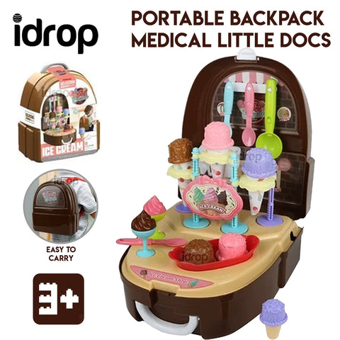 Idrop Portable Backpack Pretend Game Ice Cream Toys