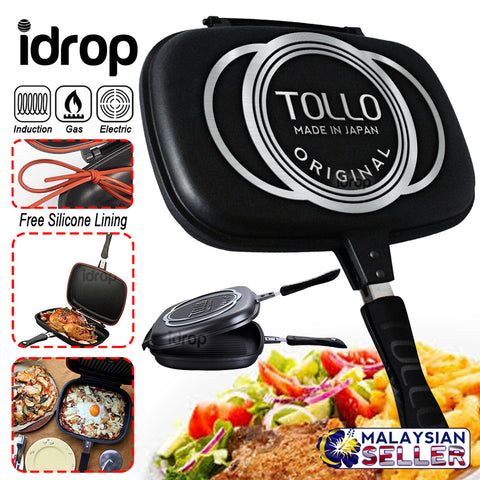 idrop [ TOLLO ] 36CM DOUBLE SIDED FRYING PAN - Kitchen Cooking Pressure Grill Cookware
