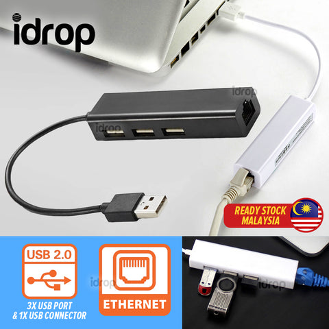 idrop 1 Port USB Ethernet Cable & 3 USB 2.0 Port Cable Hub