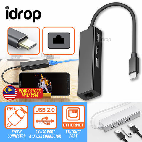 idrop 1 Port Type-C USB to Ethernet Cable & 3 USB 2.0 Port Cable Hub