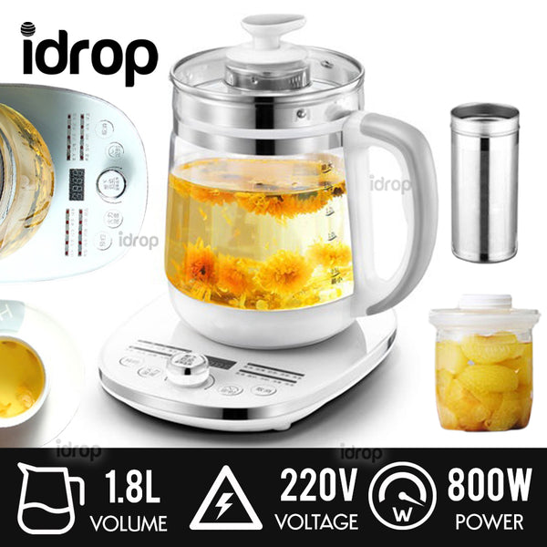 idrop 1.8L Electric Glass Body Kettle Health Pot - Cerek Air Elektrik