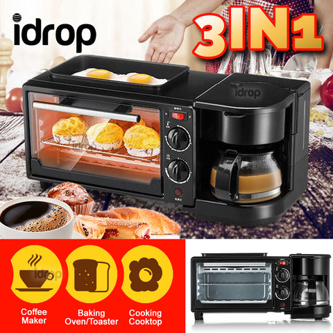 idrop 3 IN 1 Multifunctional Breakfast Maker Cooker Baking Oven & Coffee Maker