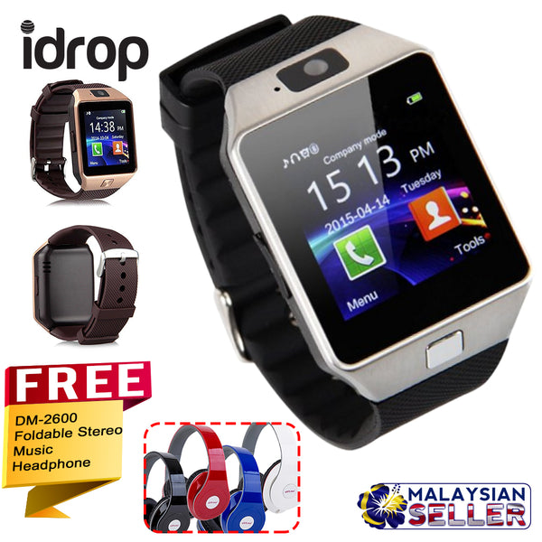 idrop COMBO DZ09 Smart Watch Android with Sim Card Slot + FREE DM-2600 Headphone