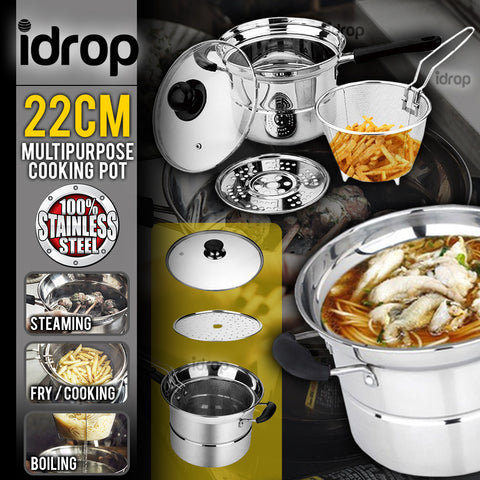 idrop High Quality Kitchenware Korean 22 cm Stainless Steel Pot Multipurpose Cooking Pot Gas Stove