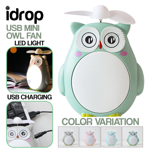 idrop USB Mini Owl Rechargeable Fan with LED Light