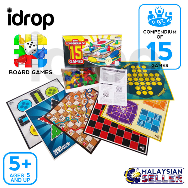 idrop Compendium of 15 Games [ SPM GAMES ] Multiple Multiplayer Interactive Board game [ SPM95 ]