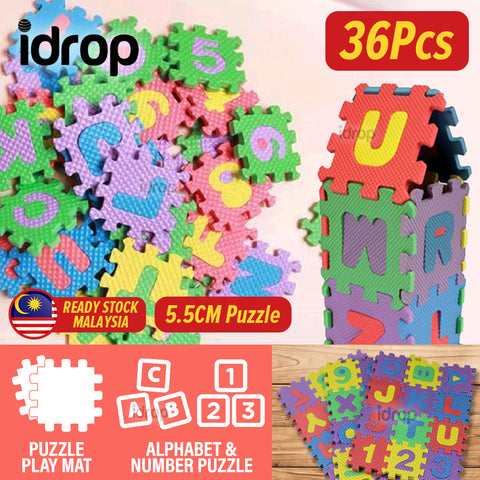 idrop [ 36pcs ] Kid's Children Alphabet & Number Mini Puzzle