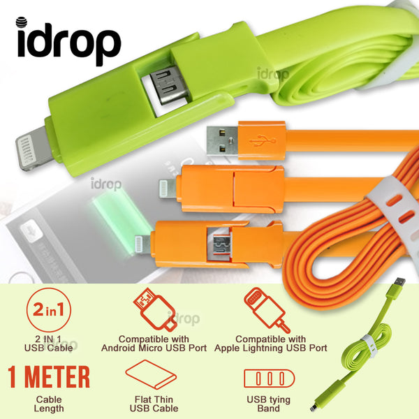 idrop 2 in 1 USB Charging Data Cable Compatible with Android Micro USB & Apple Device