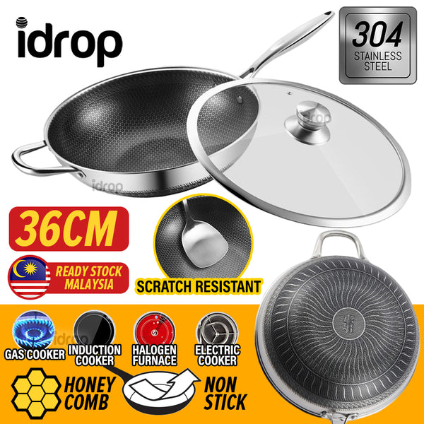idrop 36CM SUS304 Stainless Steel Nonstick Honeycomb Frying Cooking Wok