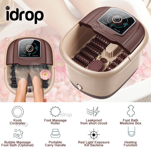 idrop Foot Spa Massage Electric Heating Warmer Bucket with Feet Massage Roller