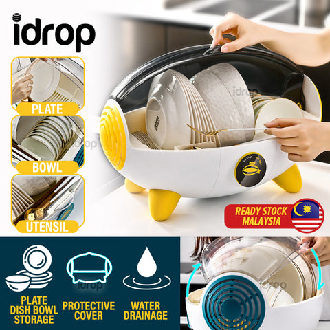 idrop Household Kitchen Utensil Bowl Plates Utensil Dishrack Storage Container Box