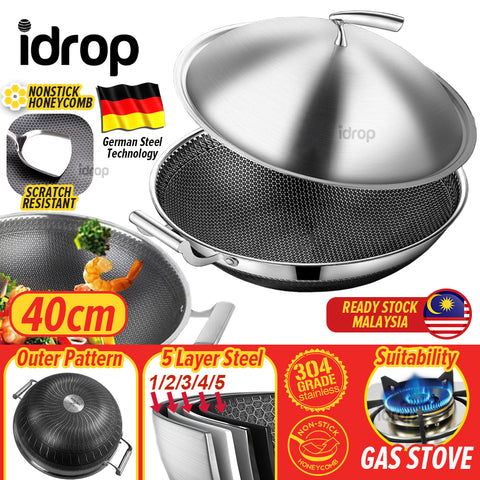 idrop 40CM Kitchen Honeycomb Non Stick Cooking Frying Wok SUS304 Stainless Steel with Lid Cover