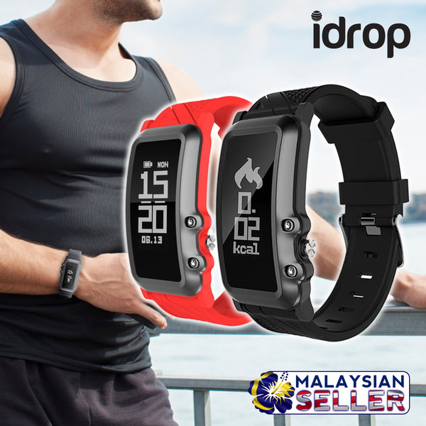 idrop DB08 Smart Watch Bracelet Heart Rate Blood Pressure Monitor IP68 Water Resistance Bluetooth 4.0 Compatible with iOS Android - Black/Red