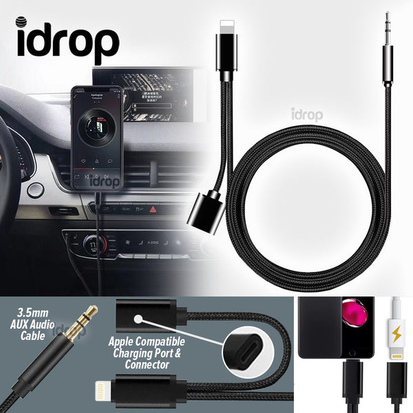 idrop iP 3.5mm Aux Audio Cable & Charging Cable  [ Apple Compatible Charging Port & Connector ]