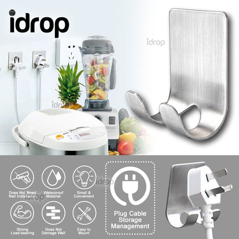 idrop Wall Socket Hanger for Home Kitchen and Bathroom [ 2-Hook Pattern ]