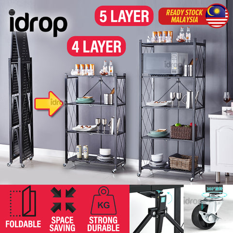idrop 4 LAYER / 5 LAYER Foldable Portable Space Saving Kitchen Storage Shelf Rack