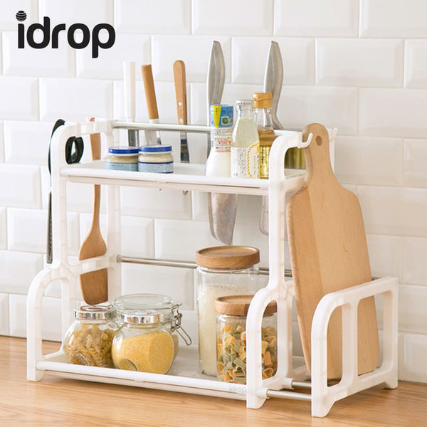 idrop Kitchen Organiser Shelf 2 Layer Shelving with Side Storage, Hooks, and Utensil Cups - 2 Layers Kitchen Plastic Shelf -