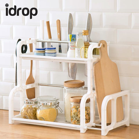 idrop Kitchen Organiser Shelf 2 Layer Shelving with Side Storage, Hooks, and Utensil Cups