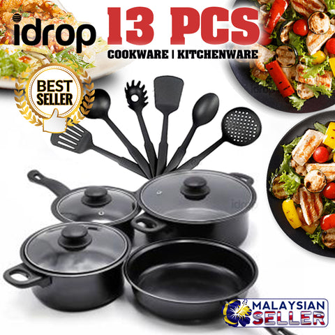 idrop 13 PIECES COOKWARE SET - Olympia Kitchenware Pot Pan and Utensils