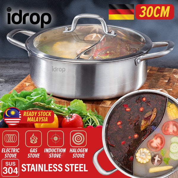 idrop [ 30CM ] 2 IN 1 Stainless Steel SUS304 Furnace Hot Pot