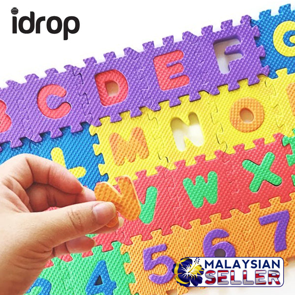 idrop Alphabet and Number Color Puzzle Mat - Small Size - Creativity and Imagination Skill Develop