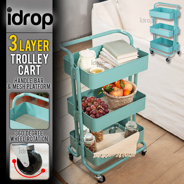idrop 3 Layer Steel Rack Shelf Storage Trolley Cart