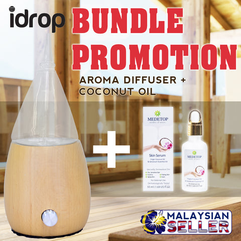 idrop [BUNDLE PROMOTION] Aroma Diffuser + MEDETOP Skin Serum | Aroma Therapy with Virgin Coconut Oil & Geranium Extract