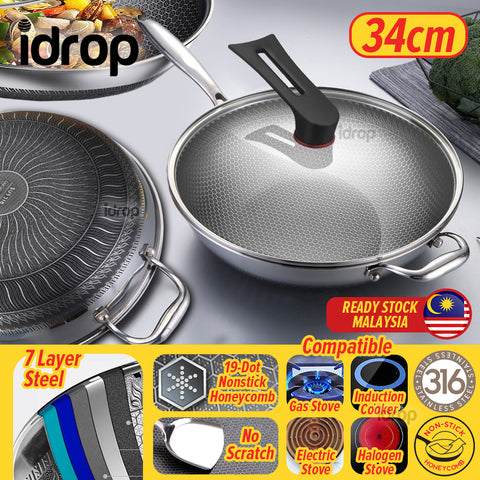 idrop 34CM Stainless Steel SUS316 Frying Cooking Cook Wok with Glass Lid Cover