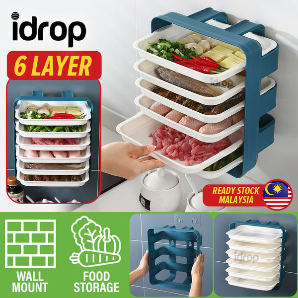 idrop [ 6 LAYER ] Wall Mounted Kitchen Food Cooking Preparation Tray Drawer