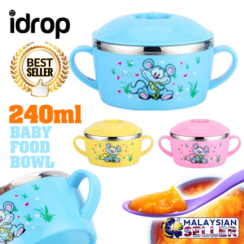 idrop 240ml Baby Thermos Flask Eating Bowl