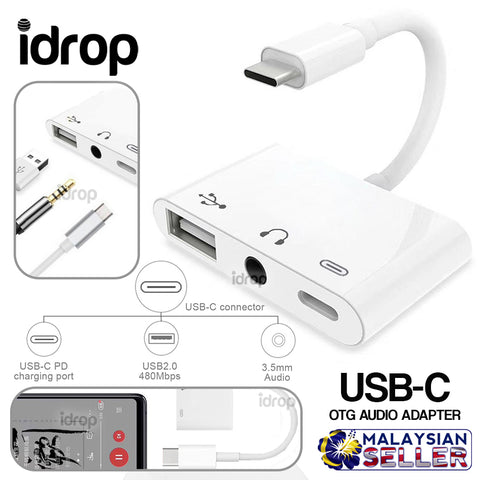 idrop USB-C OTG Audio Adapter [ Type C to USB / 3.5mm Audio Jack / Type C ]