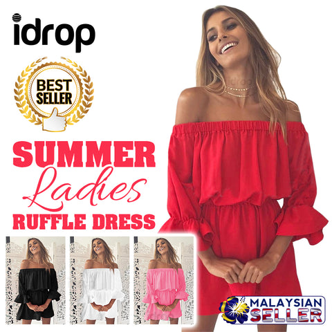 idrop SUMMER Ladies Ruffle Dress - Off Shoulder Dress