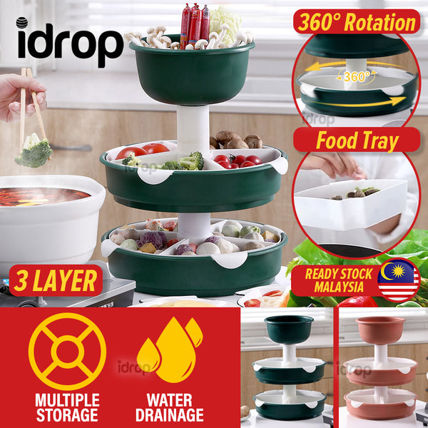 idrop [ 3 LAYER ] Multilayer Kitchen Rotating Hotpot Steambot Food Meat Vegetable Display Platter
