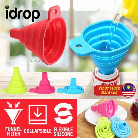 idrop [ 6CM ] Mini Silicone Flexible Collapsible Oil Liquid Water Funnel Kitchen Tool Filter