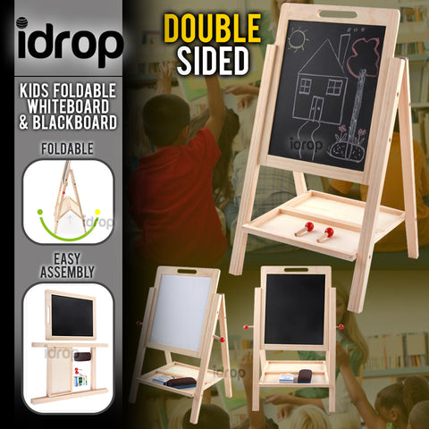 idrop Double Sided Wooden Magnetic Educational Black Board / White Board For Kids And Children