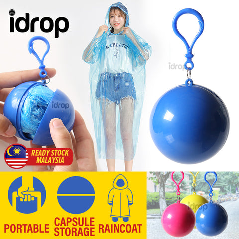 idrop Raincoat Capsule Ball - Portable Disposable Plastic Rain Coat Mini Storage