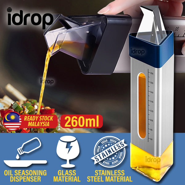 idrop 260ml Prism Stainless Steel & Glass Oil Seasoning Sauce Dispenser Bottle