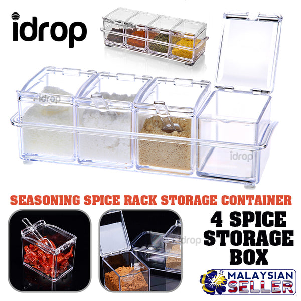 idrop Crystal Seasoning Rack Spice Pots Acrylic Seasoning Box Storage with Racks