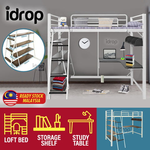 idrop [ 3 IN 1 ] Loft Bunk Bed Frame with Study Table & Book Shelves [ Single Bed ] [ WHITE ]