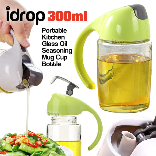 idrop 300ml Portable Kitchen Glass Oil Seasoning Mug Cup Bottle Container