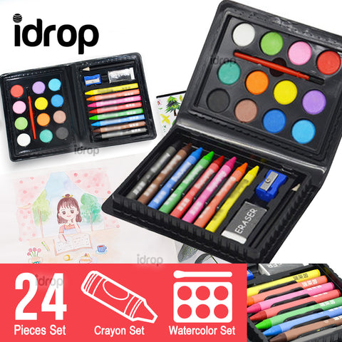 idrop 24pcs Crayon & Water Color Art Set