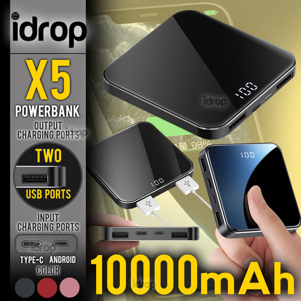 idrop 10000mAh X5 - Mini Portable Powerbank with 2 Output Charging Port & 2 Input Charging Port [ Type C & Android Micro USB ]