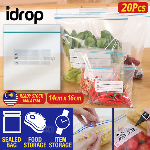 idrop [ 20pcs ] Kitchen Food Preservation Packaging Storage Sealed Bag [ 16cm x 14cm ] S-Size