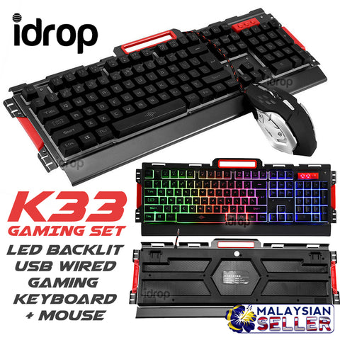 idrop K33 GAMING SET - LED Backlit USB Wired Gaming Keyboard + Mouse